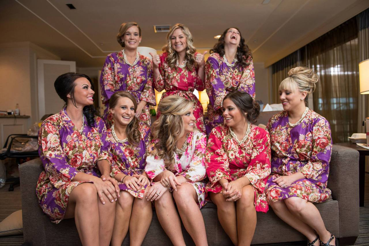 Mismatched Rosy Red Posy bridesmaids Robes in bright tones