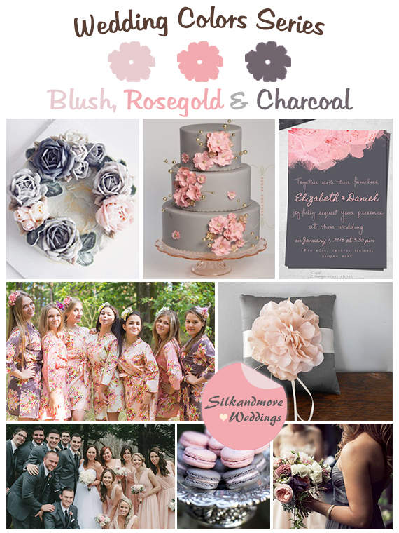 Blush Rosegold And Charcoal Gray Wedding Colors Robes By Silkandmore