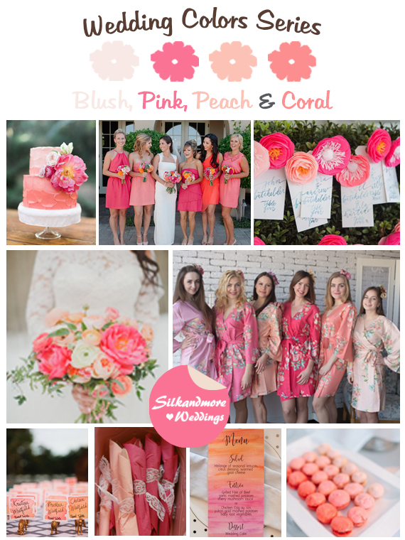 Blush Pink Peach And Coral Wedding Colors Robes By Silkandmore