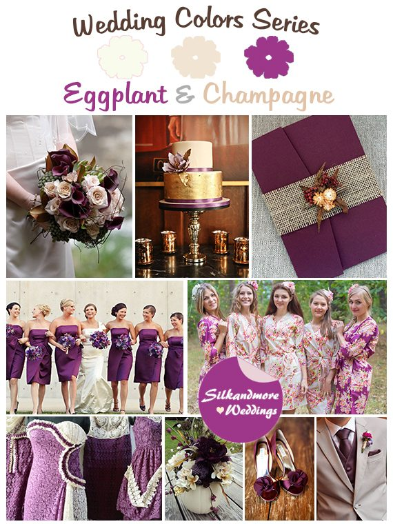Eggplant and Champagne Wedding Colors - Robes by silkandmore